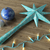 3d render of a blue star and balls Christmas decoration with blue lights on wooden background stock photo © danilo_vuletic