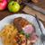 kacsa · krumpli · fából · készült · tányér · kezek · karácsony - stock fotó © dar1930