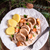 patatas · cerdo · salsa · alimentos · mesa · cocina - foto stock © Dar1930