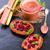 ruibarbo · torta · alimentos · madera · verano · rojo - foto stock © dar1930