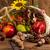 рог · изобилия · яблоко · фон · оранжевый · листьев · красный - Сток-фото © dar1930