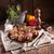 töltött · disznóhús · étel · gyümölcs · zöld · vacsora - stock fotó © dar1930