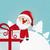 santa behind gift white winter landscape stock photo © dariusl