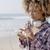 káprázatos · lány · zenét · hallgat · gyönyörű · lány · tengerpart · természet - stock fotó © dash