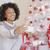 幸せ · 若い女性 · ポーズ · クリスマス · 携帯電話 · 赤 - ストックフォト © dash