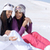 iki · arkadaşlar · oturma · birlikte · güneşli · Kayak - stok fotoğraf © dash