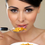 piękna · kobieta · jedzenie · zbóż · portret · puchar - zdjęcia stock © dash