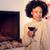 inverno · casa · lareira · mulher · vidro · vinho · tinto - foto stock © dash