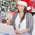 glücklich · Frau · Laptop-Computer · Weihnachtsbaum · Bild · Baum - stock foto © dash