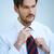 anziehend · Mann · Krawatte · schauen · vorsichtig · Spiegel - stock foto © dash