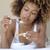 kobieta · jedzenie · śniadanie · bed · mleka · zboża - zdjęcia stock © dash