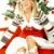 belo · natal · mulher · jovem · árvore · de · natal · branco · mulher - foto stock © dash