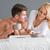 genç · kadın · kahvaltı · birlikte · beyaz · yatak - stok fotoğraf © dash