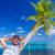 homem · ilha · palmeira · 3d · render · deserto · verão - foto stock © dash