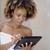 meisje · bad · handdoeken · touchpad · gewaad · netwerken - stockfoto © dash