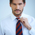 anziehend · Mann · Krawatte · Knoten · gerade · vor - stock foto © dash