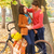 happy couple with bicycle walking in autumn park stock photo © dashapetrenko