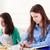 teen · studenten · leren · home · gelukkig · schoolmeisjes - stockfoto © dashapetrenko