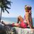 küçük · kız · tatil · sahil · ayakta · plaj · iki - stok fotoğraf © dashapetrenko