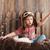 happy kid playing in pilot helmet stock photo © dashapetrenko