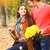 happy couple with bicycle in autumn park stock photo © dashapetrenko