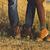 couple man and woman feet in love romantic outdoor with autumn s stock photo © dashapetrenko