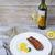 salmon steak grilled with lemon stock photo © dashapetrenko