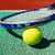 close up of tennis racquet and ball stock photo © dashapetrenko