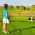 cute · bambina · giocare · golf · campo · outdoor - foto d'archivio © dashapetrenko