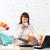 portrait · jeune · femme · travail · maison · portable · séance - photo stock © dashapetrenko