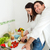 portrait · heureux · couple · cuisine · vin - photo stock © dashapetrenko