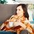 gelukkig · jonge · zwangere · vrouw · Blauw · witte · kleding - stockfoto © dashapetrenko