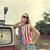 Blond girl on damaged gas station stock photo © dashapetrenko