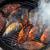 peixe · grelha · chamas · horizontal · comida · mão - foto stock © dashapetrenko