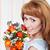 gelukkig · jonge · vrouw · bod · boeket · bloemen - stockfoto © dashapetrenko