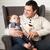 boldog · mosolyog · család · egyéves · kislány · bent - stock fotó © dashapetrenko