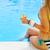 Frau · rosa · Badeanzug · Körper · Strand · Himmel - stock foto © dashapetrenko