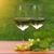 dois · óculos · vinho · branco · uvas · folhas · verdes · madeira - foto stock © dashapetrenko