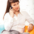 young brunette woman talking on cell phone stock photo © dashapetrenko