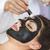 jovem · bela · mulher · máscara · cara · preto - foto stock © dashapetrenko