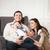 happy family with one year old baby girl indoor stock photo © dashapetrenko