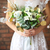unusual wedding bouquet in retro style at hands of a bride stock photo © dashapetrenko