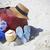 verão · chapéu · de · palha · óculos · de · sol · cachecol · praia - foto stock © dashapetrenko