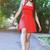 aranyos · nő · visel · vörös · ruha · kéz · szexi - stock fotó © dashapetrenko