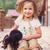 meisje · poseren · hond · mooie · jong · meisje · ijs - stockfoto © dashapetrenko