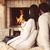 女性 · リラックス · 火災 · カップ · ホットチョコレート - ストックフォト © dashapetrenko