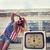 blond screaming girl on damaged gas station stock photo © dashapetrenko