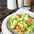 saludable · pollo · a · la · parrilla · ensalada · cesar · queso · mesa · de · madera · hoja - foto stock © dashapetrenko