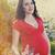 retrato · belo · mulher · grávida · florescimento · primavera · vestido · vermelho - foto stock © dashapetrenko