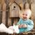 portrait of an adorable baby girl and little white rabbit easte stock photo © dashapetrenko